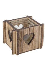 Holzschale Herz mit Glaseinsatz natur