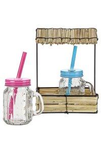 Trinkhalmglas 120 ml, 2er Set im Drahtgestell mit Stroh