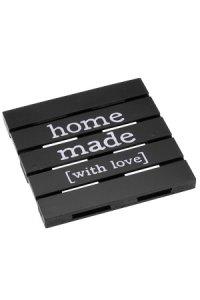Deko-Holzpalette Homemade 18 x 18 cm, schwarz