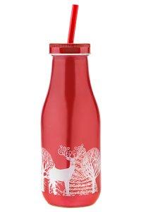 Trinkhalmflasche Wintermotiv 440 ml rot
