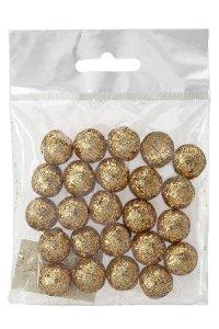 Dekokugeln Glitter gold, Ø 14 mm, 24er Pack