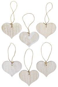 Anhänger Herz aus Holz, 6er Pack