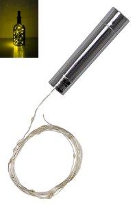 Deko-Stopfen silber mit Lichtstrang, 20 LEDs, warmweiß