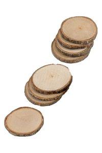Untersetzer Holzscheiben im Netz ca. 5 cm, 8 Stück