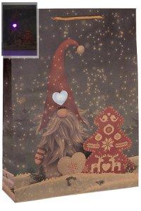 Geschenktasche Weihnachtswichtel mit LED, 24 x 8 x 33 cm