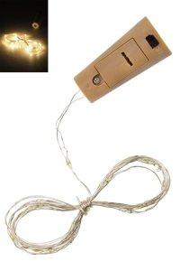 Deko-Stopfen mit Lichtstrang, 20 LEDs, warmweiß