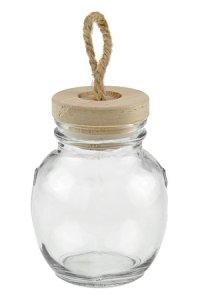 Dekoglas 130 ml bauchig mit Holzdeckel
