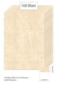 Etiketten 48,5 x 25,4 mm beige marmoriert - 100 Blatt A4