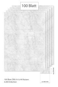 Etiketten 48,5 x 25,4 mm grau marmoriert - 100 Blatt A4