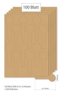 Siegeletiketten natur - 100 Blatt A4