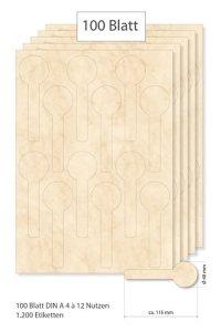 Siegeletiketten beige marmoriert - 100 Blatt A4