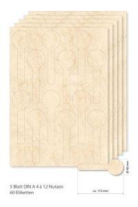 Siegeletiketten beige marmoriert -  5 Blatt A4