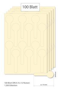 Siegeletiketten creme - 100 Blatt A4