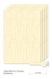 Siegeletiketten creme -  5 Blatt A4