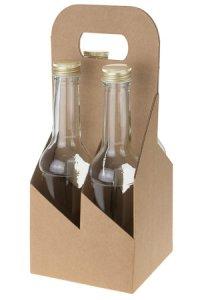 Flaschenkarton 4er 130 x 130 x 290 mm natur