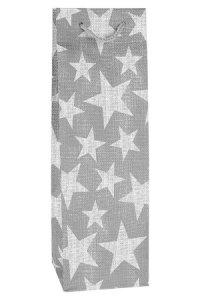Flaschentasche Sterne silber, 12,5 x 10 x 34,5 cm