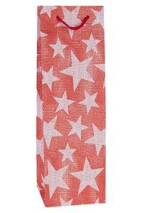 Flaschentasche Sterne rot, 12,5 x 10 x 34,5 cm