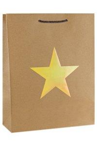 Geschenktüte Stern gold metallic, 26 x 12 x 32 cm
