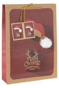 Geschenktüte Weihnachtsmütze mit Bommel, 24 x 8 x 33 cm