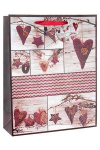 Geschenktasche Anhänger Herz und Stern, 26 x 12 x 32 cm