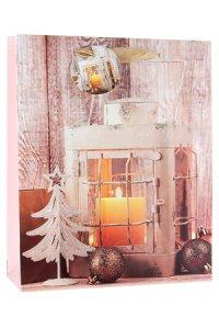 Geschenktüte Laterne mit Kerze, 26 x 12 x 32 cm