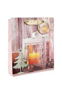 Geschenktasche Laterne mit Kerze, 18 x 10 x 23 cm