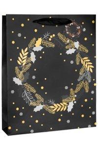 Geschenktüte Kranz schwarz, 26 x 12 x 32 cm