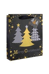 Geschenktüte Weihnachtsbäume schwarz, 18 x 10 x 23 cm