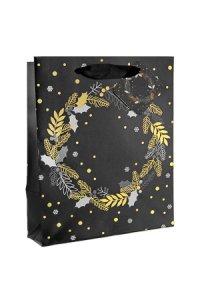 Geschenktasche Kranz schwarz, 18 x 10 x 23 cm