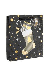 Geschenktüte Weihnachtssocke schwarz, 18 x 10 x 23 cm