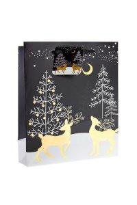 Geschenktasche Rentiere im Wald schwarz, 18 x 10 x 23 cm