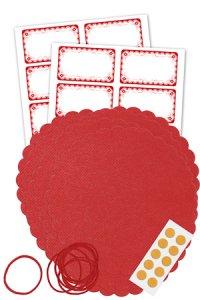 Deckchen-Set 50-teilig, 150 mm, Rüschen rot