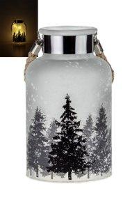Deko-Glaslampe Tannenwald im Schnee 18 cm, 10 LEDs