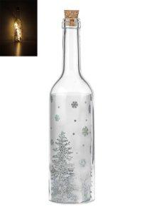 Deko-Flaschenlampe Winterwald silber mit Effektfolie und 5 LEDs