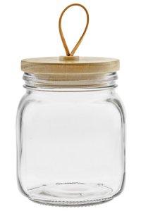 Deko-Glas 950 ml eckig mit Holzdeckel