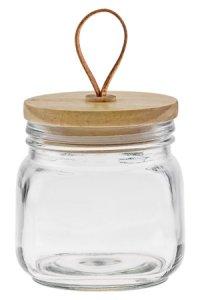 Deko-Glas 700 ml eckig mit Holzdeckel