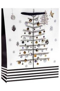 Geschenktüte Tanne mit Glitzer, 26 x 12 x 32 cm