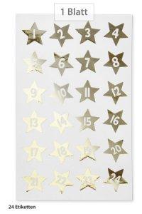 Weihnachtsetiketten Adventskalender-Sterne 1-24 gold, 24 Stück