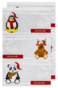Weihnachtsetiketten Pinguin, Elch, Panda 78 x 41 mm, 6 Stück