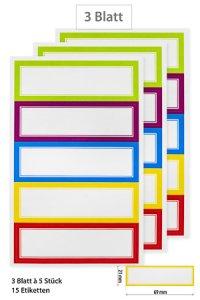 Etiketten Doppelrahmen in 5 Farben 69 x 21 mm, 15 Stück