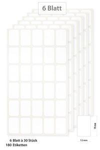 Etiketten Weiß 19 x 12 mm, 180 Stück