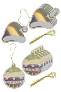 Geschenkanhänger Mütze und Kugel gold, 12 Stück