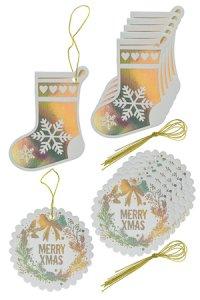 Geschenkanhänger Socke und Kranz gold, 12 Stück