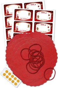 Deckchen-Set 50-teilig, 135 mm, Weihnachten rot