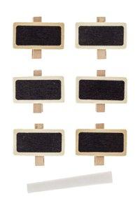Deko-Holzklammern mit Tafel 42 x 12 x 35 mm + Kreide, 7tlg.