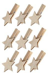 Deko-Holzklammern mit Stern 35 x 12 x 55 mm, 9er Set