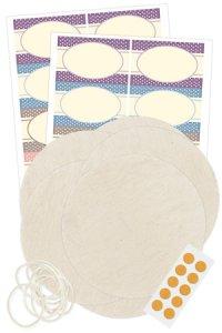 Deckchen-Set 46-teilig, 130 mm natur, Vintage-Punkte