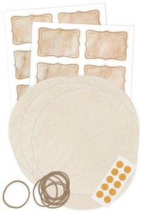 Deckchen-Set 42-teilig, 150 mm natur, Marmor Vintage