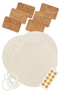 Deckchen-Set 32-teilig, 140 mm natur, Korketikett