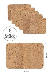 Naturkork-Etikett 90 x 60 mm, 6 Stück